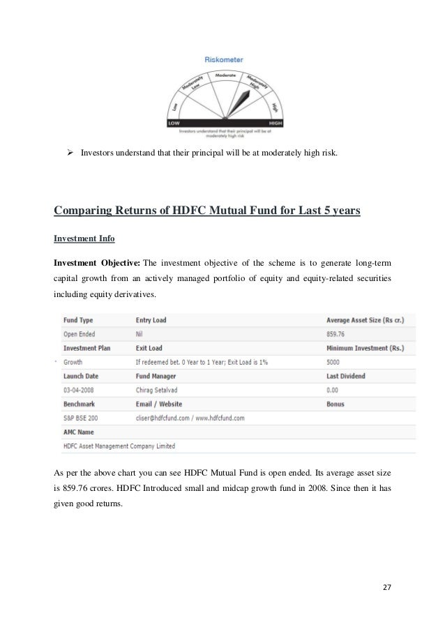 comparative study of mutual funds and Risk return analysis and comparative study of mutual funds essaytitle:- risk returns analysis and comparative study of mutual fund.