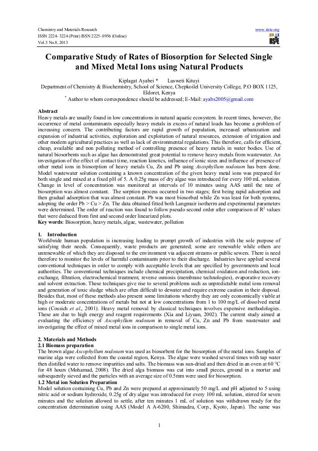 Chemistry and Materials Research www.iiste.org ISSN 2224- 3224 (Print) ISSN 2225- 0956 (Online) Vol.3 No.8, 2013 1 Compara...