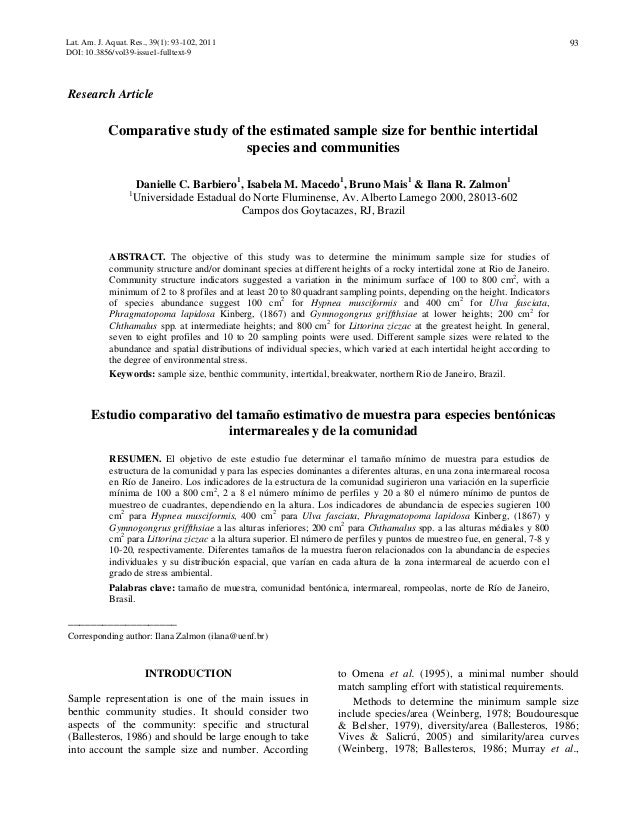 Comparative Study Of The Estimated Sample Size For Benthic