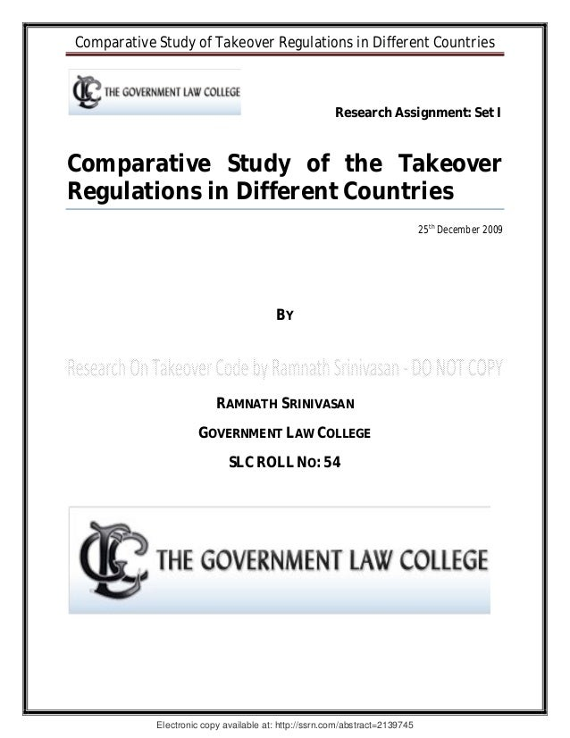 Comparative Study of Takeover Regulations in Different Countries                                                       Res...