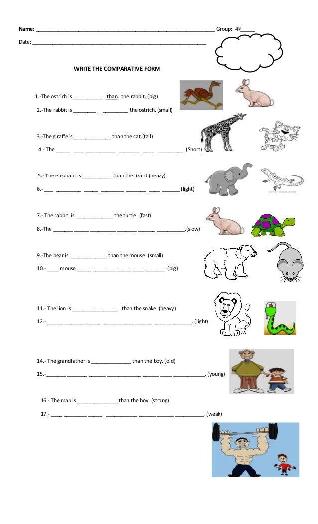 Comparatives Worksheet 1