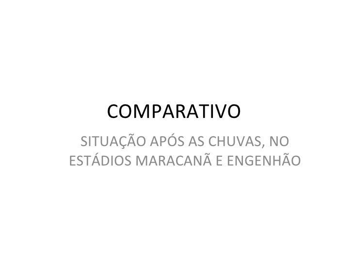 COMPARATIVO  SITUAÇÃO APÓS AS CHUVAS, NO ESTÁDIOS MARACANÃ E ENGENHÃO