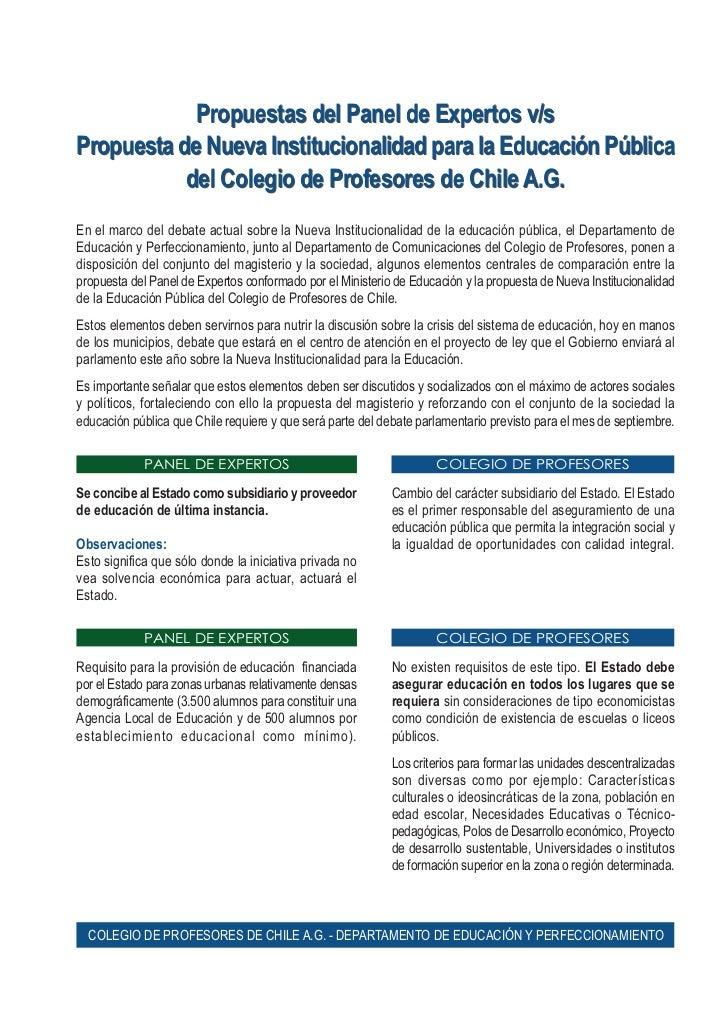 Propuestas del Panel de Expertos v/sPropuesta de Nueva Institucionalidad para la Educación Pública           del Colegio d...