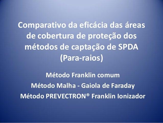 Comparativo da eficácia das áreas de cobertura de proteção dos métodos de captação de SPDA (Para-raios) Método Franklin co...