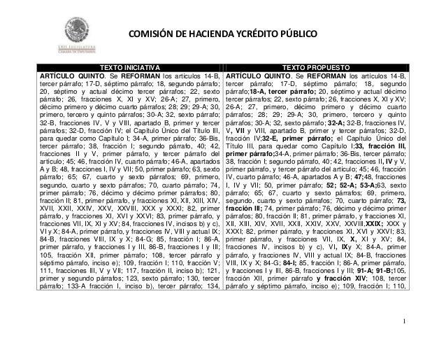 COMISIÓN DE HACIENDA YCRÉDITO PÚBLICO  TEXTO INICIATIVA ARTÍCULO QUINTO. Se REFORMAN los artículos 14-B, tercer párrafo; 1...