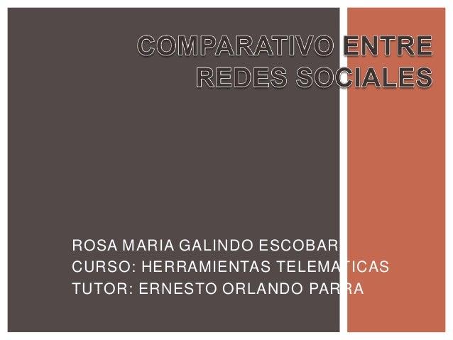 ROSA MARIA GALINDO ESCOBARCURSO: HERRAMIENTAS TELEMATICASTUTOR: ERNESTO ORLANDO PARRA