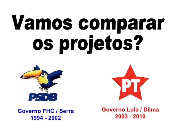 Vamos comparar os projetos? Governo Lula / Dilma 2003 - 2010 Governo FHC / Serra 1994 - 2002