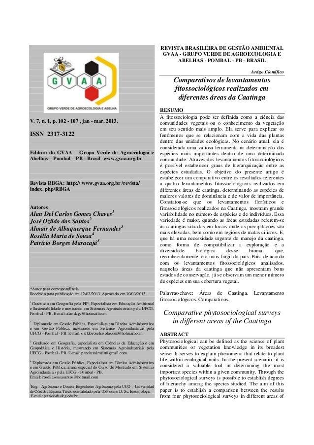 REVISTA BRASILEIRA DE GESTÃO AMBIENTAL GVAA - GRUPO VERDE DE AGROECOLOGIA E ABELHAS - POMBAL - PB - BRASIL Artigo Científi...