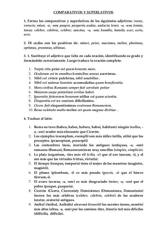 Ejercicios de verbos comparativos y superlativos en ingles