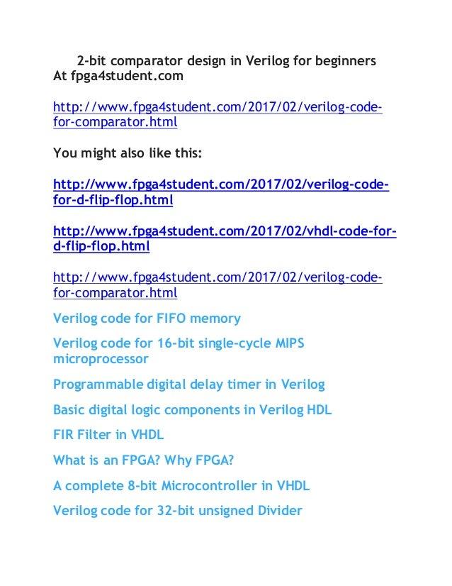 Verilog code for comparator on FPGA