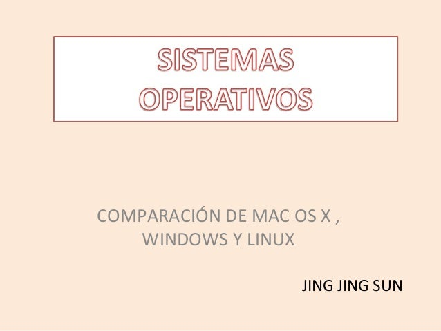 COMPARACIÓN DE MAC OS X ,   WINDOWS Y LINUX                     JING JING SUN
