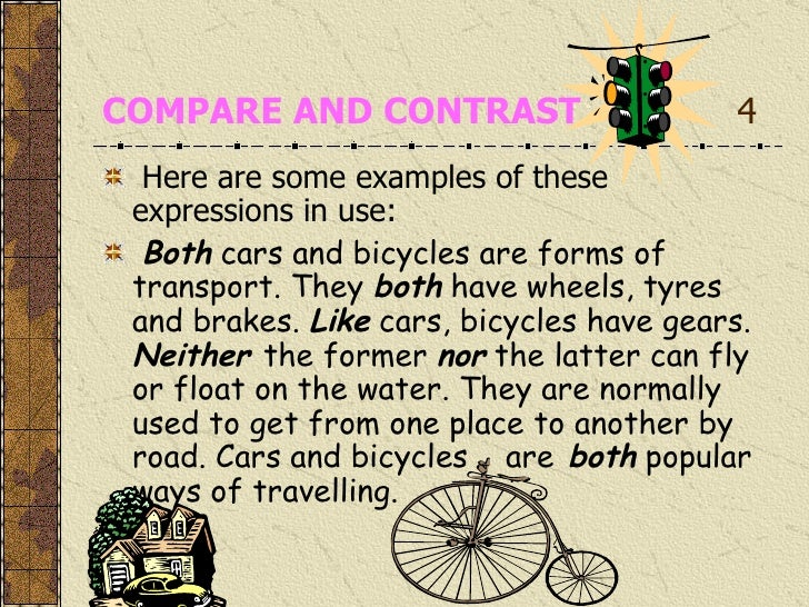 compare contrast bicycles and cars Check out our top free essays on compare and contrast car and plane to help you write your own essay.