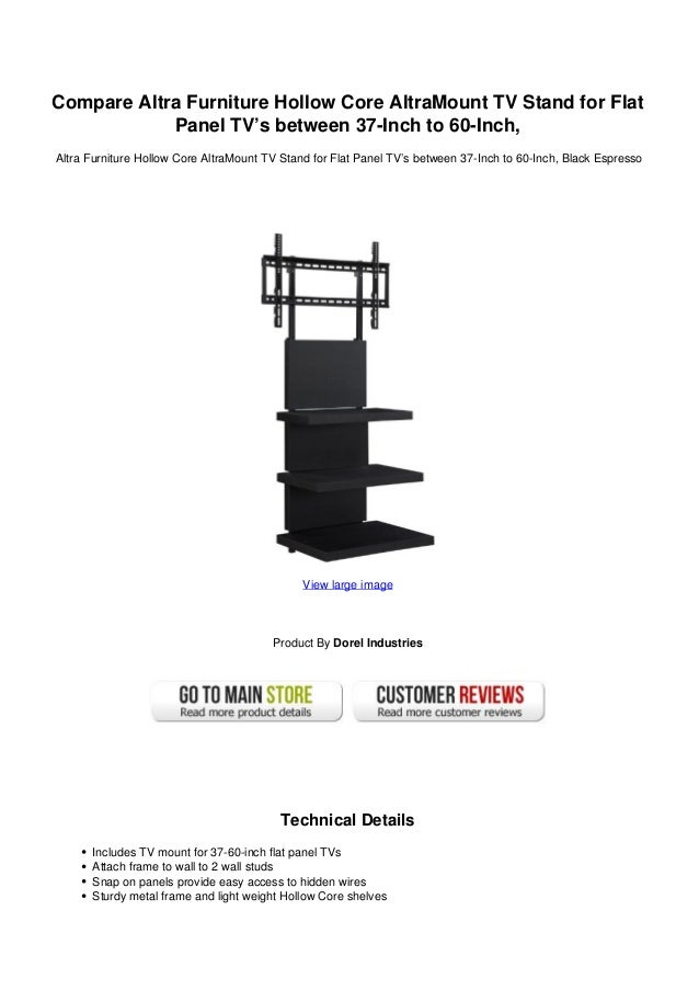 Compare Altra Furniture Hollow Core AltraMount TV Stand For FlatPanel TVu0027s  Between 37 Inch To ...