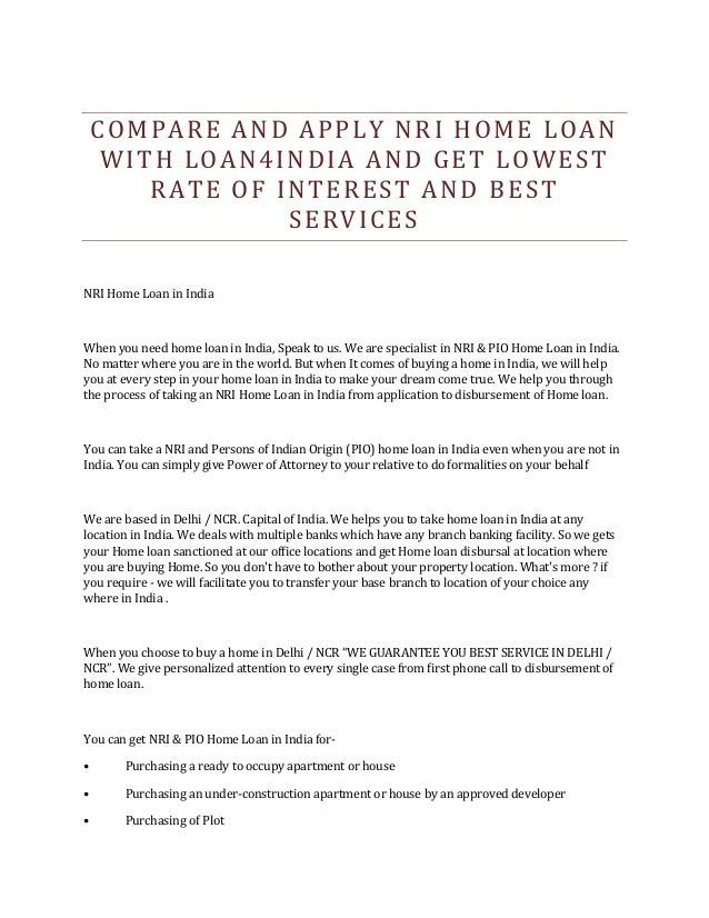 Home Loan Interest Rates In India For Nri   Flisol Home