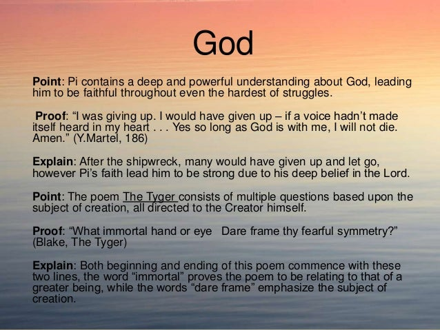 life of pi essay belief This was my response to a question on the novel the life of pi, it is very short, but i would really like some advice, even if it is just grammar, syntax, and.