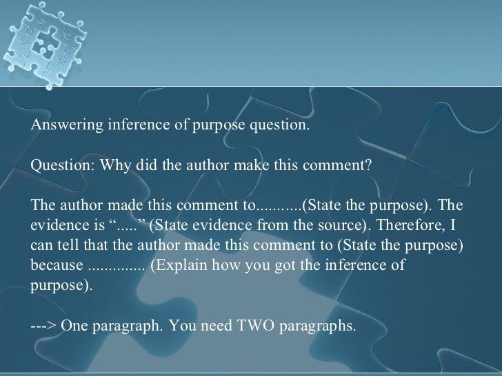 Comparison and Purpose Questions