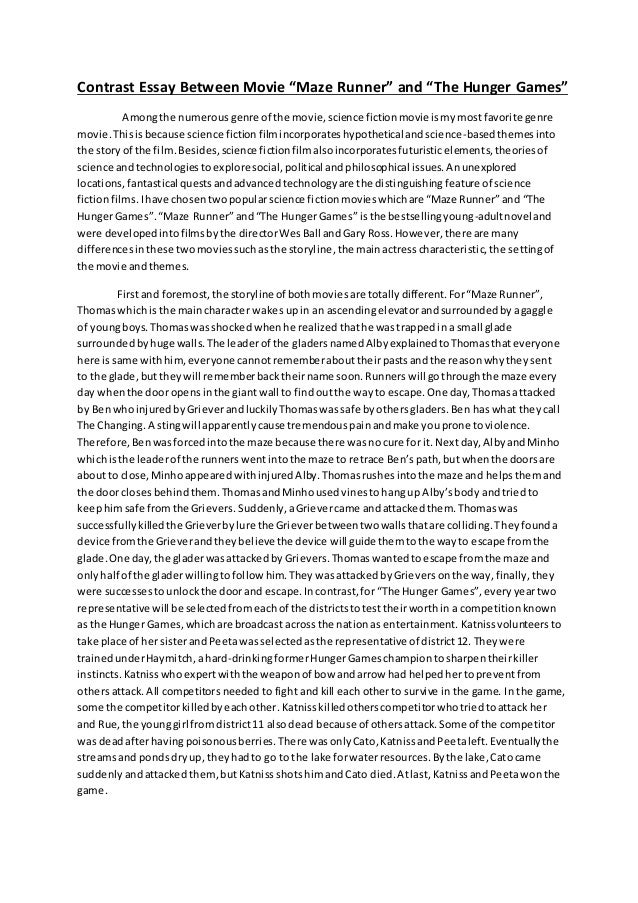 "compare and contrast essay eng ii  4 contrast essay between movie ""maze runner"" and ""the hunger games"""
