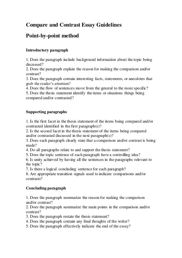 Introduction paragraph for compare and contrast essay