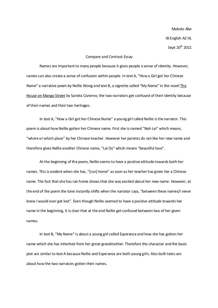 Comparison and contrast essay between two friends