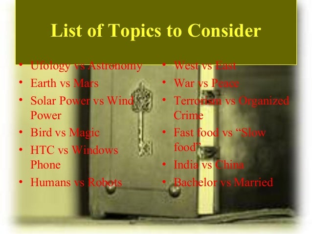List of compare and contrast essay topics