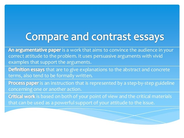 essay compare contrast topics Great selection of compare contrast essay topics for high school and college papers excellent resource of compare and contrast essay topics for both teachers and.