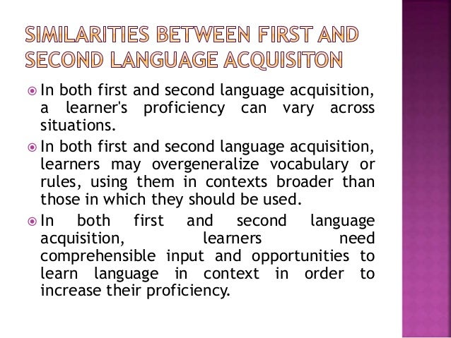 first language acquisition and second language acquisition pdf