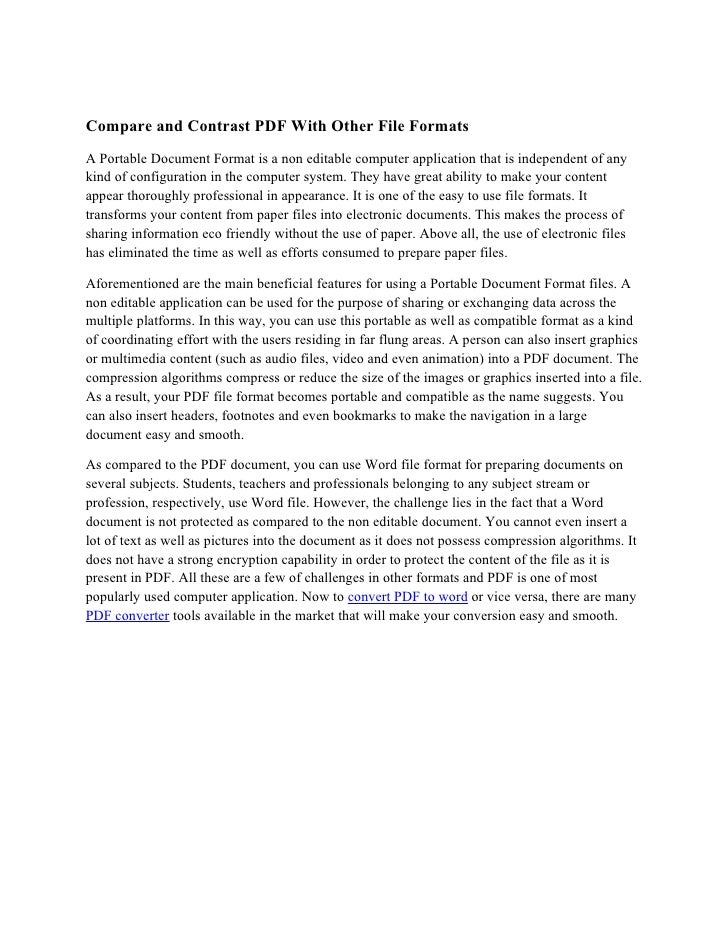 Compare and Contrast PDF With Other File Formats