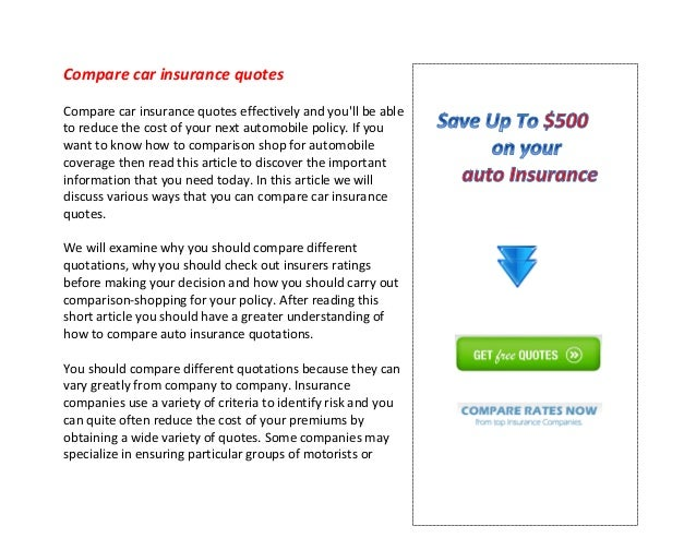 Compare Car Insurance Quotes >> Compare Car Insurance Quotes