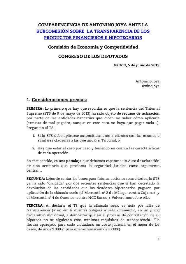 Nulidad de la cl usula suelo comparecencia congreso de for Clausula suelo mayo 2013