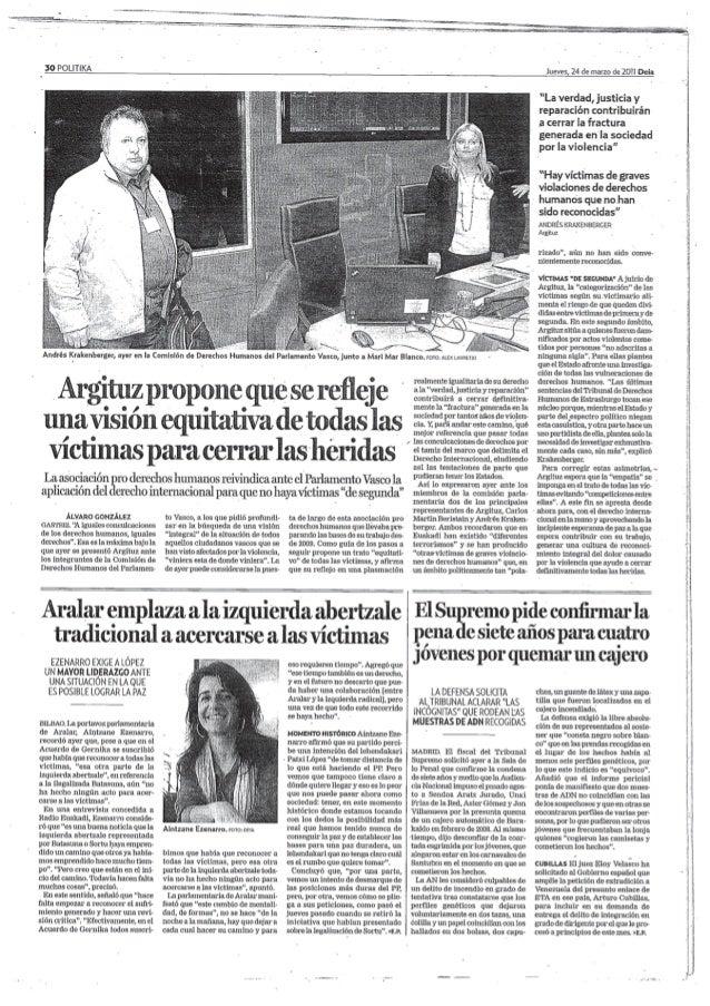 Argituz propone que se refleje una vision equitativa de todas las victimas