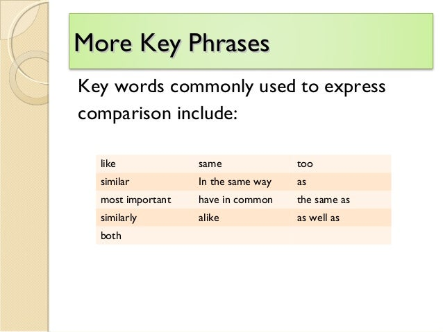 Comparison and contrast essay useful phrases