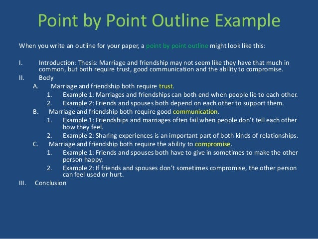 compare contrast point by point essay Identify the three subjects that you will compare and state whether you will focus on similarities, differences, or both the thesis may also indicate which points you will compare / contrast 3 choose a pattern to organize your essay the two major patterns for organizing a comparison/contrast essay are: subject by subject.
