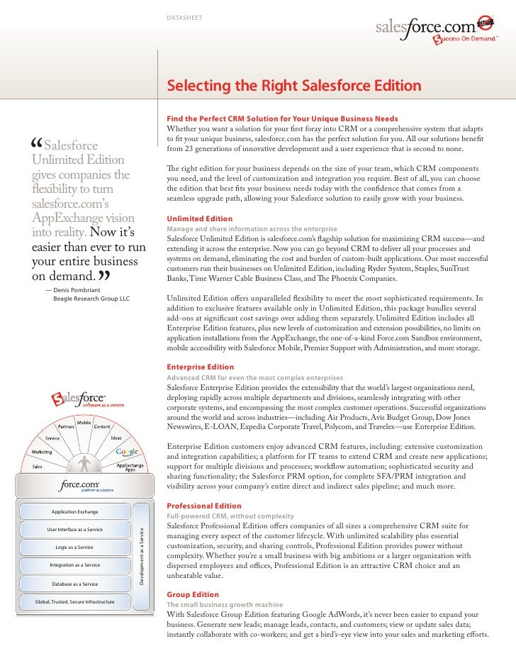 DATASHEET                                                                    Selecting the Right Salesforce Edition       ...