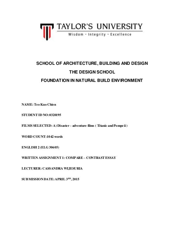 compare essay between pompeii and titanic school of architecture building and design the design school foundation in natural build environment compare essay between titanic