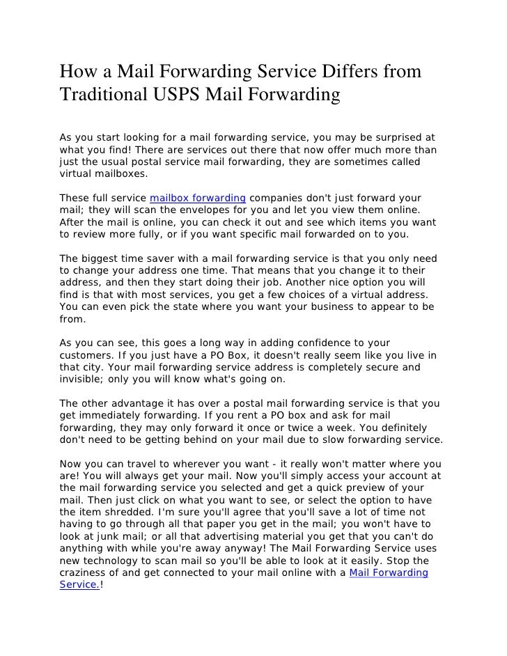 Compare mail forwarding service to usps mail forwarding