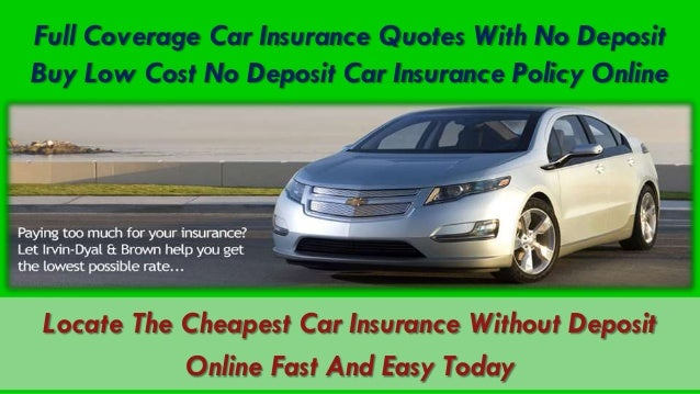 Compare No Deposit Car Insurance Quotes - No deposit car insurance