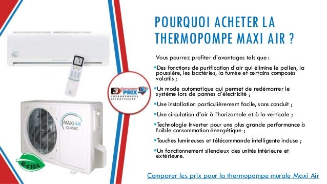 check-out 1bc97 2becc Comparer 3 Prix Thermopompes - Maxi Air (thermopompe murale)