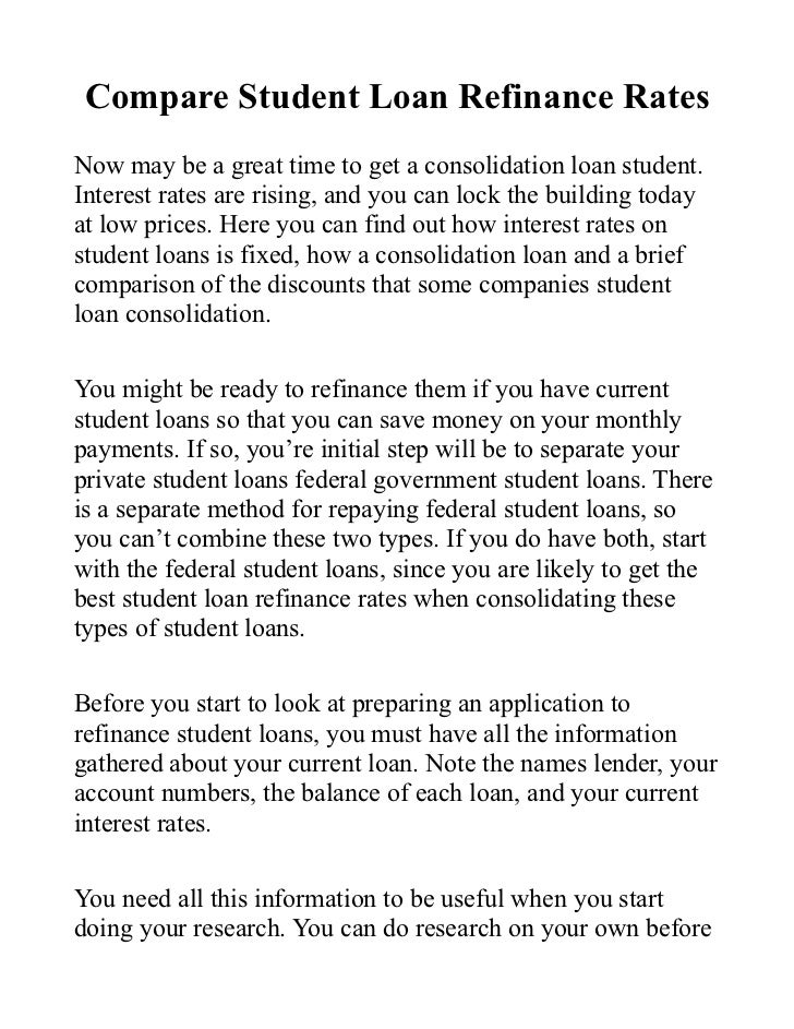 Compare Student Loan Refinance Rates