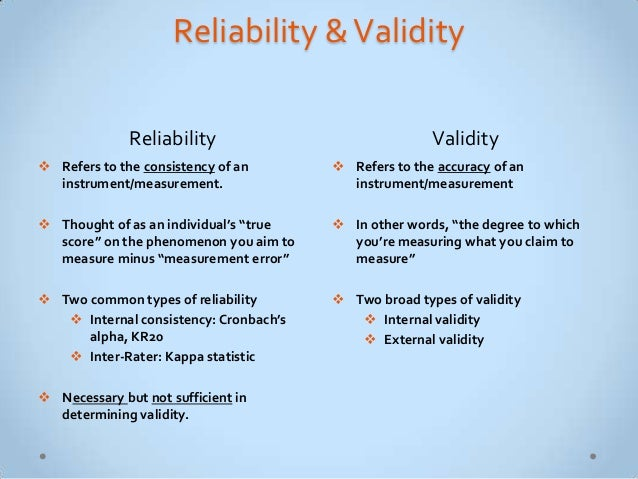 example of reliability in research Validity and reliability are concepts that capture the measurement properties of a survey (for example, your opinion is in research, however, their use.