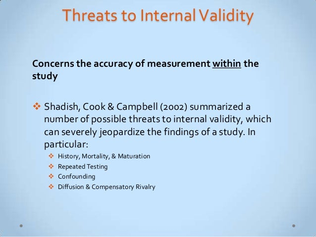how do we address threats of reliability and validity in criminological research Threats to external validity: there are different kinds of validity within a research study the first type of validity is define reliability and validity as.