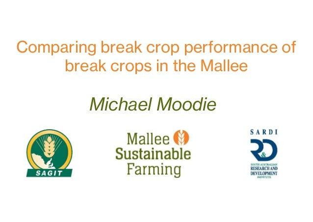 Michael Moodie Comparing break crop performance of break crops in the Mallee