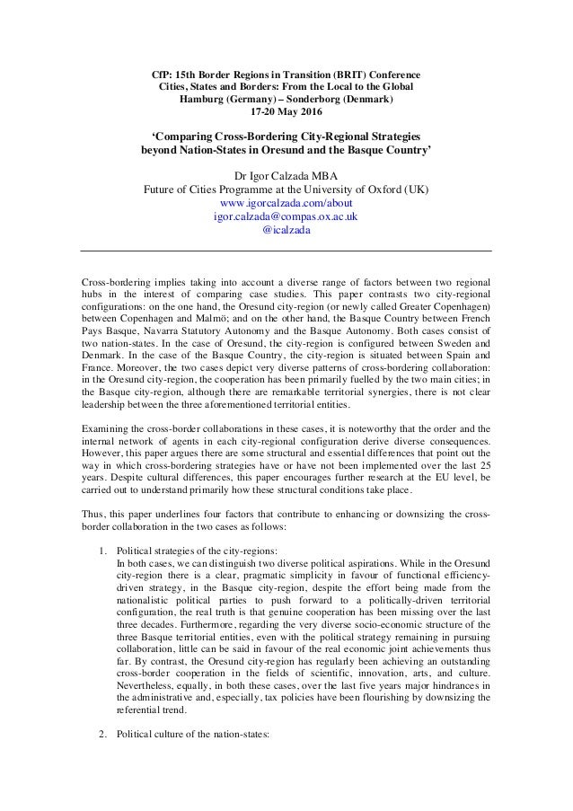 CfP: 15th Border Regions in Transition (BRIT) Conference Cities, States and Borders: From the Local to the Global Hamburg ...