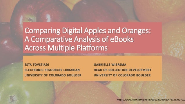 Comparing Digital Apples and Oranges: A Comparative Analysis of eBooks Across Multiple Platforms ESTA TOVSTIADI GABRIELLE ...