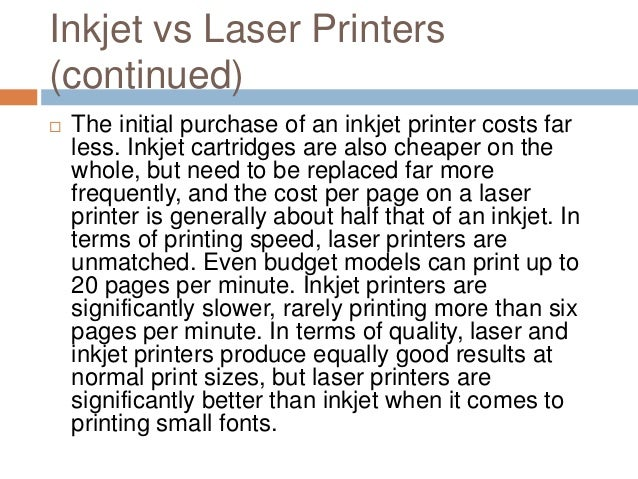Comparing Inkjet and Laser Printers