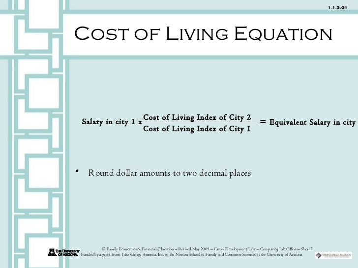 how to read cost of living index