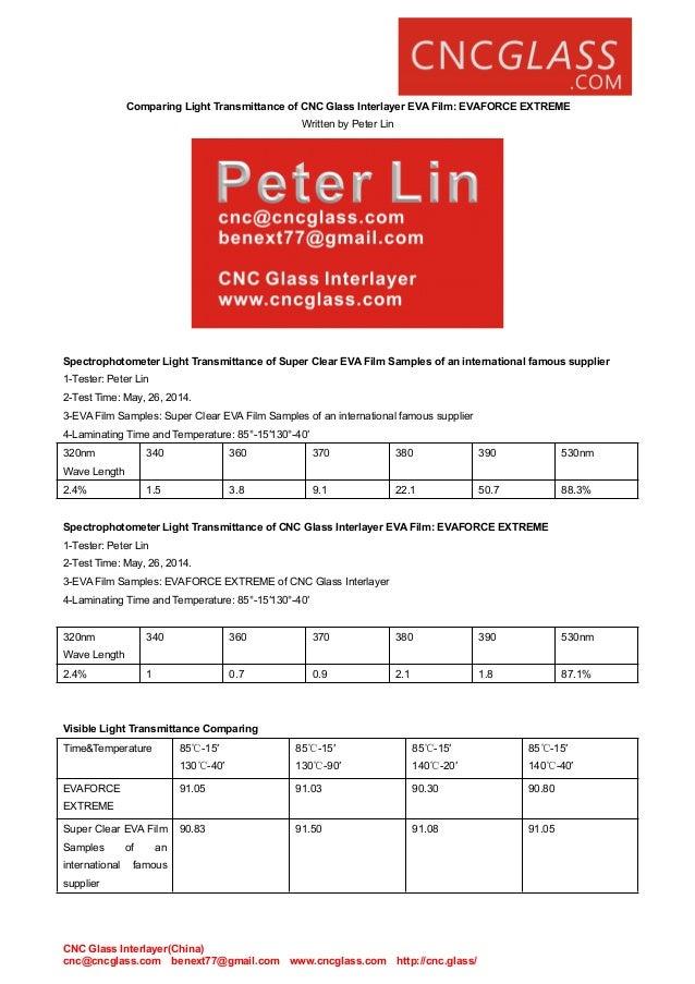 CNC Glass Interlayer(China) cnc@cncglass.com benext77@gmail.com www.cncglass.com http://cnc.glass/ Comparing Light Transmi...
