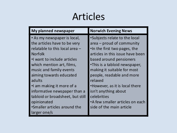 comparing for news