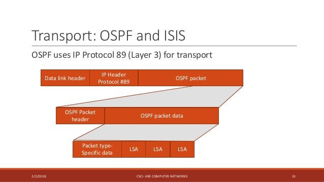 Transport: OSPF and ISIS OSPF uses IP Protocol 89 (Layer 3) for transport 2/2/2018 CSCI- 690 COMPUTER NETWORKS 13 Data lin...