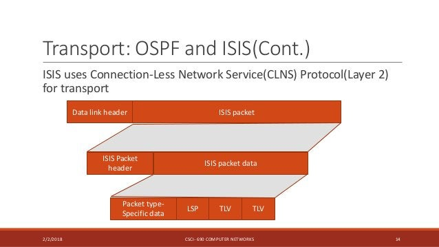 Transport: OSPF and ISIS(Cont.) ISIS uses Connection-Less Network Service(CLNS) Protocol(Layer 2) for transport 2/2/2018 C...