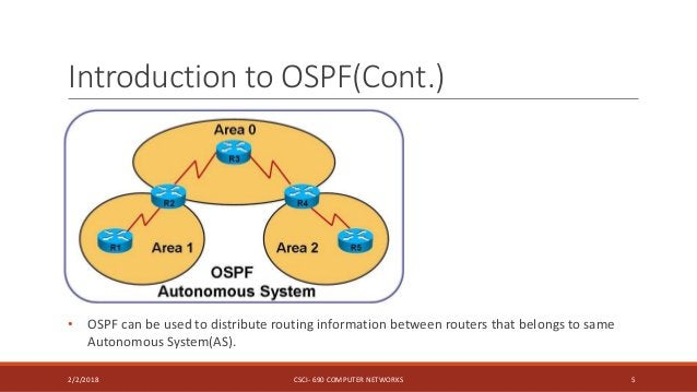 Introduction to OSPF(Cont.) 2/2/2018 CSCI- 690 COMPUTER NETWORKS 5 • OSPF can be used to distribute routing information be...